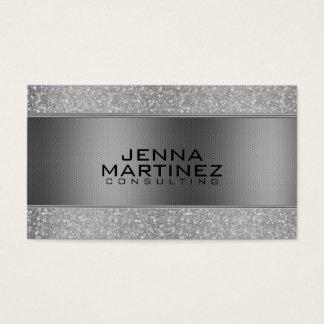 Silver Glitter & Metallic Silver Mash Consulting Business Card