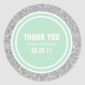 Silver Glitter & Mint Green Thank You Round Classic Round Sticker