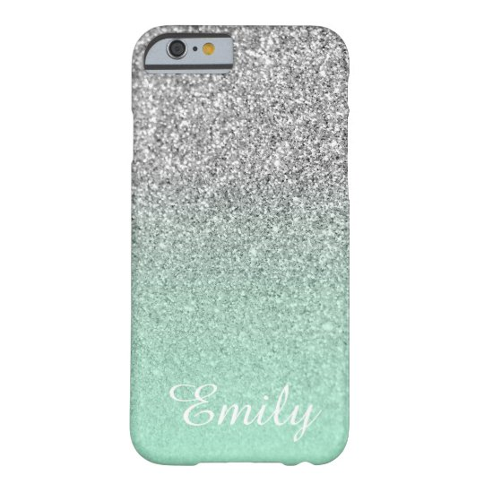 Silver Glitter Mint Ombre Personalised Barely There iPhone