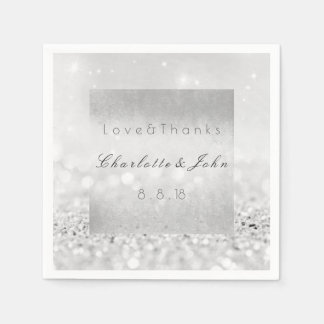 Silver Glitter Monochromatic White Black Wedding Disposable Serviettes