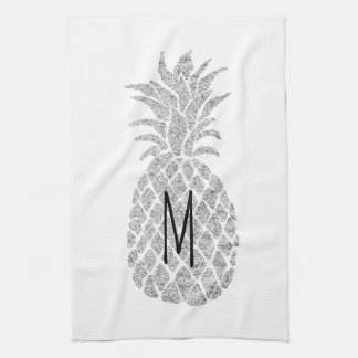 silver glitter monogram pineapple kitchen towels