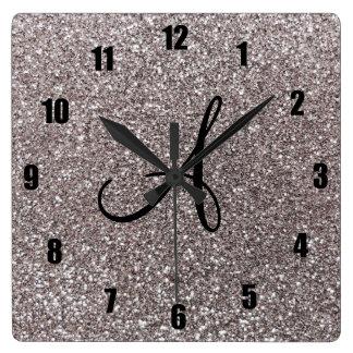 Silver glitter monogram square wall clock