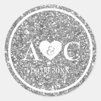 Silver glitter monogram wedding favor classic round sticker