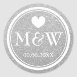 Silver glitter monogram wedding favour stickers