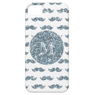 Silver Glitter Mustache Pattern Your Monogram Barely There iPhone 5 Case