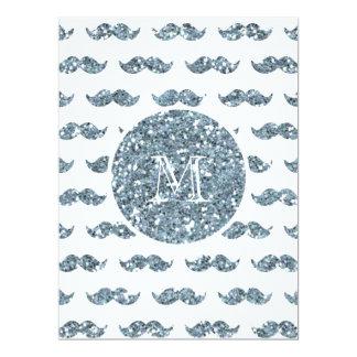 Silver Glitter Mustache Pattern Your Monogram 17 Cm X 22 Cm Invitation Card