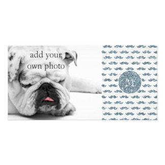 Silver Glitter Mustache Pattern Your Monogram Personalised Photo Card