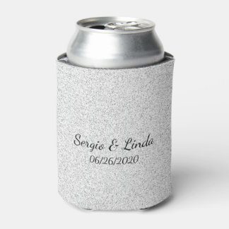 Silver Glitter Name and Date Can Cooler