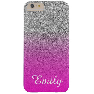 Silver Glitter Neon Pink Ombre Personalized Barely There iPhone 6 Plus Case