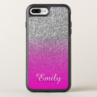 Silver Glitter Neon Pink Ombre Personalized OtterBox Symmetry iPhone 8 Plus/7 Plus Case
