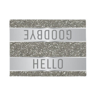 Silver Glitter Pattern Hello Goodbye Doormat