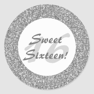 Silver Glitter Pattern Look-like Sweet Sixteen Classic Round Sticker