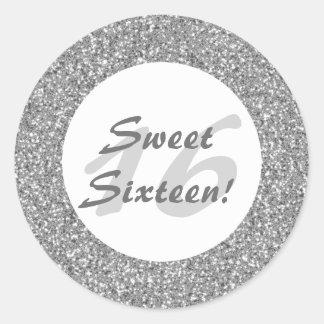 Silver Glitter Pattern Look-like Sweet Sixteen Round Sticker