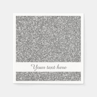 Silver Glitter Pattern Look-like With Custom Text Paper Napkin
