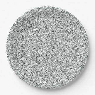 Silver Glitter Pattern Paper Plate
