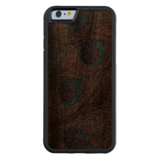 Silver glitter peacock feathers carved walnut iPhone 6 bumper case