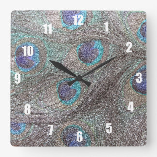 Silver glitter peacock feathers square wall clock