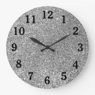 Silver Glitter Photo Black Numbers Large Clock
