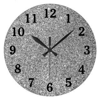 Silver Glitter Photo Black Numbers Wall Clocks