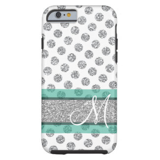 Silver Glitter Polka Dot Pattern with Monogram Tough iPhone 6 Case