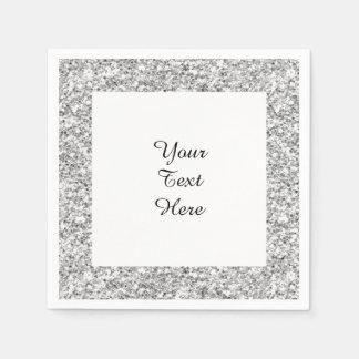 Silver Glitter Printed Paper Napkins