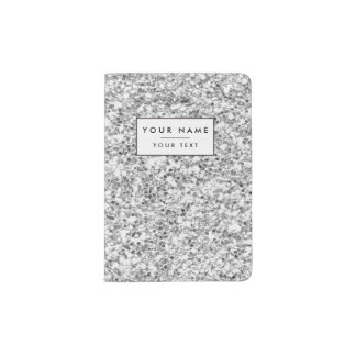 Silver Glitter Printed Passport Holder