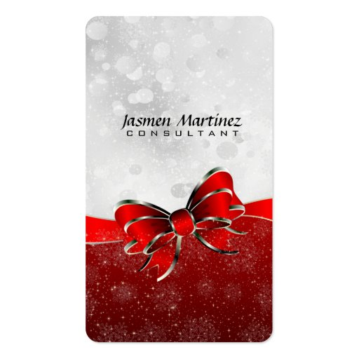 Silver Glitter & Red Sparkles And Bow Monogramed Business Card