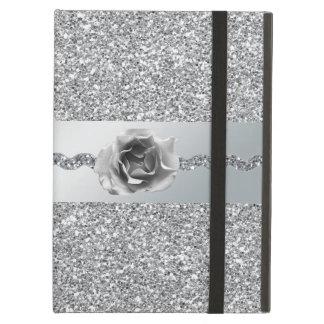 Silver Glitter Rose iPad Case