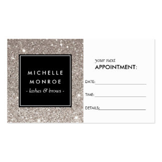 Silver Glitter Salon Appointment Card Pack Of Standard Business Cards