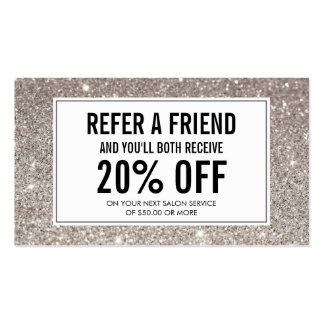 Silver Glitter Salon Referral Card Pack Of Standard Business Cards