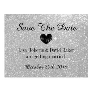 Silver glitter Save the date wedding postcard