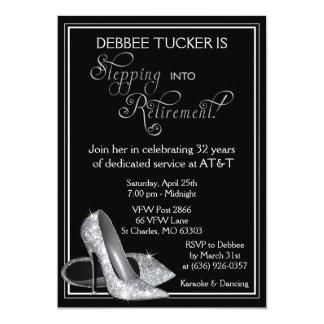 Silver Glitter Shoes Retirement Party 13 Cm X 18 Cm Invitation Card