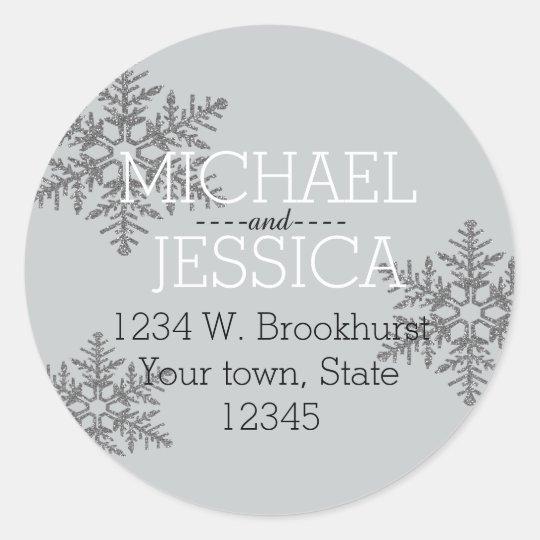 Silver Glitter Snowflake Personalised address Classic Round Sticker