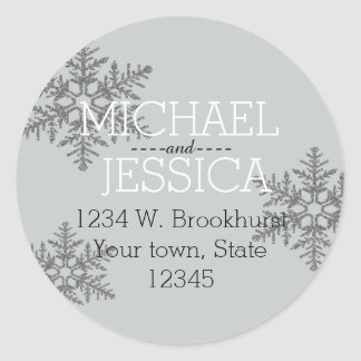 Silver Glitter Snowflake Personalized address Classic Round Sticker