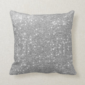 Silver Glitter Sparkle Metal Metallic Look Cushion