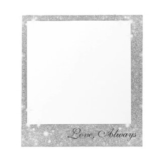 Silver Glitter Sparkle Metal Metallic Look Notepad