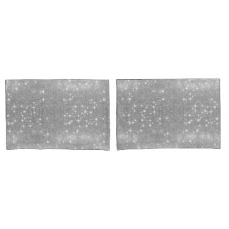 Silver Glitter Sparkle Metal Metallic Look Pillowcase