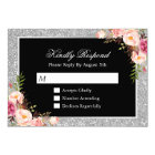 Silver Glitter Sparkles Floral Wedding RSVP Reply Card