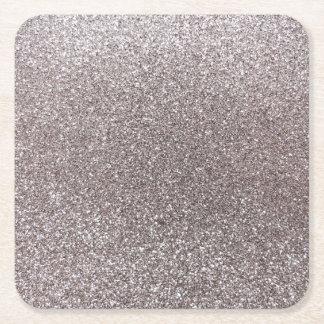 Silver glitter square paper coaster