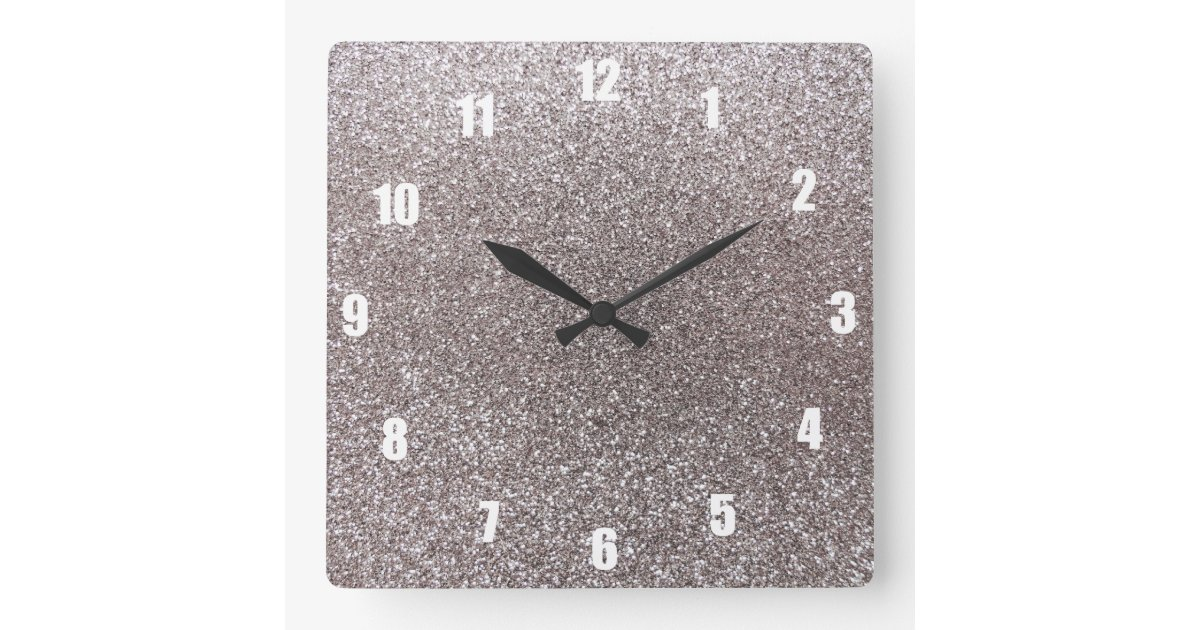 Silver Glitter Square Wall Clock Zazzle Co Uk