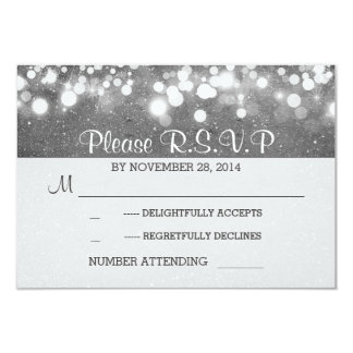 silver glitter string lights romantic wedding RSVP 9 Cm X 13 Cm Invitation Card