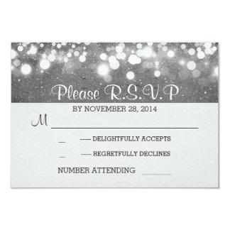 silver glitter string lights romantic wedding RSVP Card