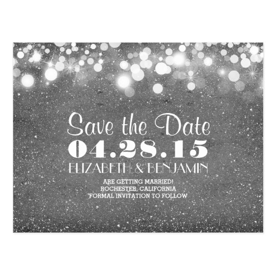 silver glitter string of lights save the date
