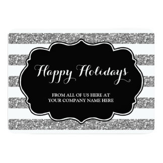 Silver Glitter Stripes Christmas Cards Business