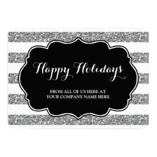 Silver Glitter Stripes Christmas Cards Business 13 Cm X 18 Cm Invitation Card