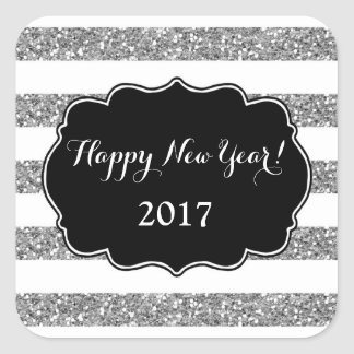 Silver Glitter Stripes Happy New Year 2017 Square Sticker
