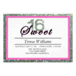 Silver Glitter Sweet 16 Birthday Party Invitation