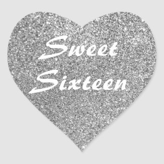 Silver Glitter Sweet Sixteen Heart Sticker