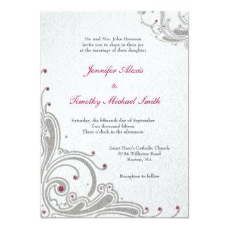 Silver glitter swirls + pink jewels wedding invite