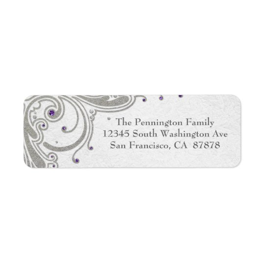 Silver glitter swirls + purple jewel address label